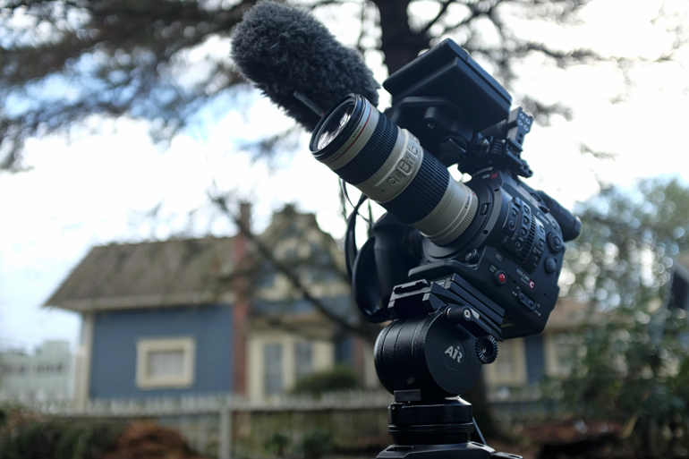 Canon cinema camera on a Miller tripod