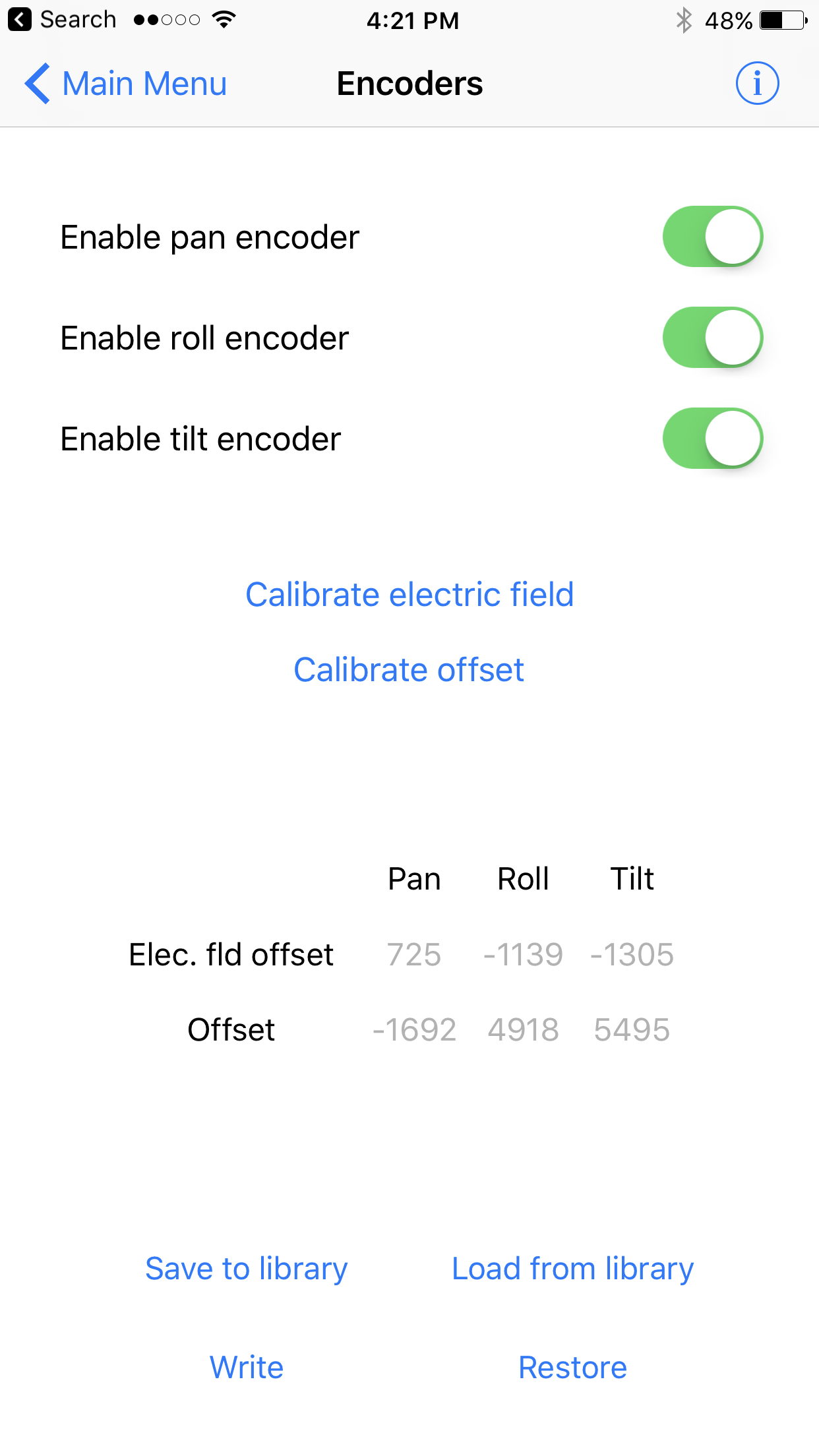letus-helix-jr-encoders-camera-gimbal-pid-tuning-ios-app-save-encoders