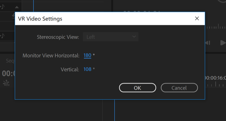 Adobe Premiere Fusion VR viewing 16x9 in record window