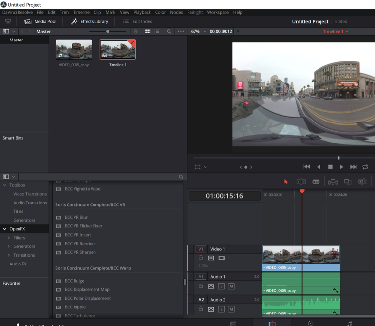 BCC 11 VR OpenFX inside of Resolve