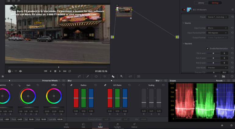 BCC 11 VR Re-Orient OpenFX inside of Resolve