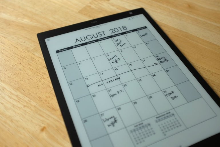 digital paper calendar sony